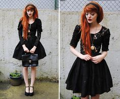 Get this look: http://lb.nu/look/5033086  More looks by Cosette Munch: http://lb.nu/user/168381-Cosette-M  Items in this look:  Second Hand Headband, Gina Tricot Lace Blouse, Second Hand Lace Cardigan, Second Hand Bubble Skirt, Second Hand Heels
