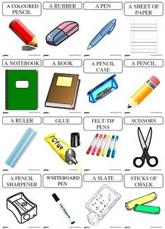 A display and referents with the name of the school material for the teacher … French Lessons, English Lessons, Teaching French, Teaching English, Worksheets For Kids, Printable Worksheets, Learn French, Learn English, English English
