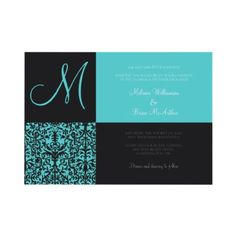 Black and Teal Damask Wedding Invitations by DamaskDiva