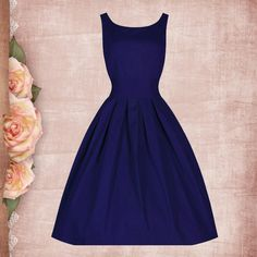 Buy New Arrival Vintage Sleeveless Solid 50s Ball Gown Party Prom Dress Fashion Dresses under $29.99 only in Dressywomen.