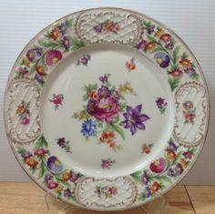 "Schumann Dresden Chateau Chop Plate Cake Platter Bavaria 12"" 1940s Antique RARE"