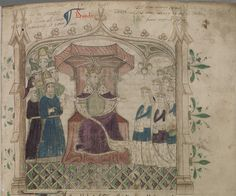 Diocletian enthroned with his daughters and their husbands from 15th cent. Brut Chronicle [LPL MS 84 f. 1r.]