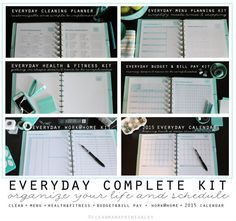 Get your life in order with these perfect printables. Includes cleaning, menu planning, health and fitness, budget and bill pay and calendars!