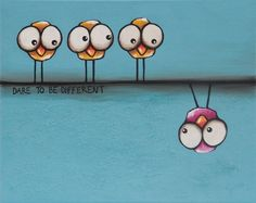 Original acrylic canvas painting whimsical birds Dare to be different SALE PRICE #IllustrationArt