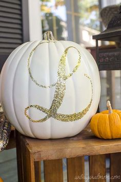 Carving pumpkins is so last year! Glitter Monogrammed pumpkins are all the rage! @unoriginalmom #pumpkin #fallfun