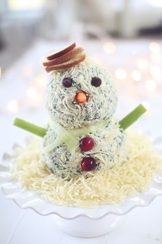 Low fat snowmanCheeseBall- use low fat cheddar or mozzarella as sub for Parmesan and low fat feta