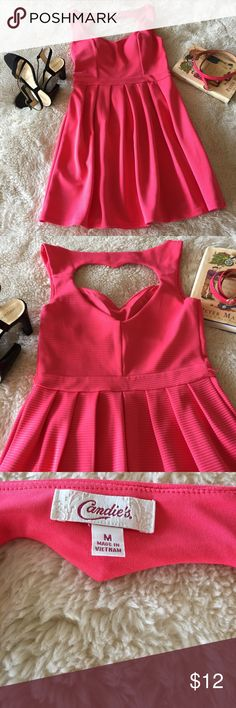 Coral Dress. Perfect for summer days. Polyester and spandex dress with heart cut out in the back. Candie's Dresses