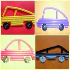 Машинки из трубочек - Поделки с детьми | Деткиподелки