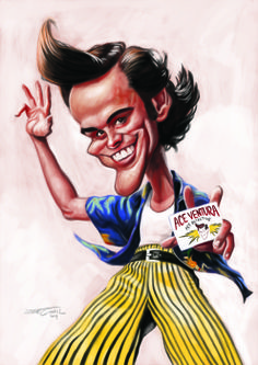 Jim Carrey as Ace Ventura: caricaturas by Jaume Cullell