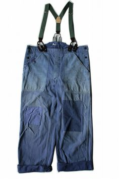 French vintage remade half overalls/France/changed from overalls/faded blue/suspenders/patchwork work pants/300