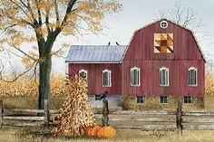 Autumn Leaf Quilt Block Barn by artist Billy Jacobs