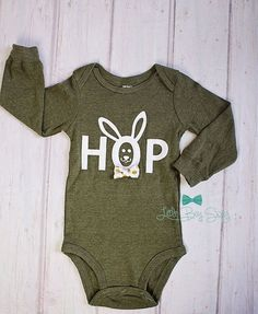 Easter bunny rabbit bodysuit easter baby boy grey by kakabaka boys easter outfitwborn onesiewborn personalized outfitys clothes negle Image collections