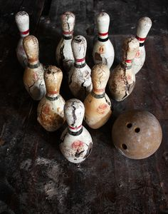 Abandoned Bowling Pins and Ball....These bowling pins and ball were found in a gymnasium of Cleveland's abandoned Willson School.