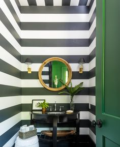 Bill Ingram designed this bold powder room for the Southern Living Idea House using our Wide Stripe Wallpaper & Montara Mirror | #serenaandlily