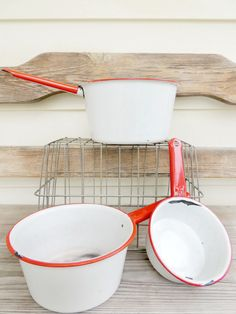 Vintage Enamel Red and White Pan Set of Three by ReclaimedGrace