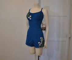 50s swimsuit / Vintage 1950's Embroidered De Weese Swimsuit Never Worn on Etsy, $292.06 AUD
