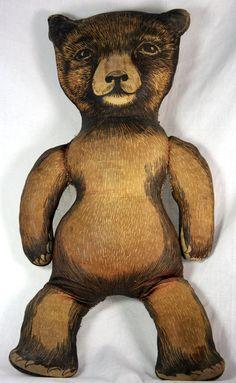 Antique Printed Cloth Teddy Bear c1910