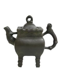Vintage Hand-crafted Oriental Yixing Clay Teapot - Bamboo By The Well (11 oz)