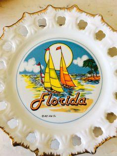 Vintage Florida Decorative Souvenir Plate, MC Art Co., Sailboats, Pamtrees,  Coastal, Nautical, Beach, Cottage, Collectable Home Decor