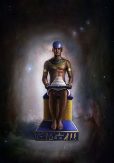 """Imhotep in the kingdom of Osiris, by Omar Buckley. Imhotep (Greek Imouthes) was born in 27th century BCE, Memphis, Egypt. He was vizier, sage, architect, astrologer, and chief minister to Djoser (reigned 2630–2611 BCE), the second king of Egypt's third dynasty. Imhotep was later worshipped as the """"God of Medicine"""" in Egypt, and in Greece - identified as Asclepius, the Greek God of Medicine. Please check out the amazing Egyptian/Kemetic royal art work by this talented Caribbean/American…"""