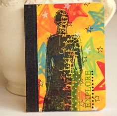 Woman Mini Journal Notebook Altered Composition by CarolaBartz, $8.00