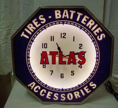 Atlas Tires Batteries Accessories Neon Clock by neon products inc (npi), Lima Ohio