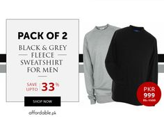 Pack Of 2 Black & Grey Fleece Sweatshirts For Men Save Up To 33% at affordable.pk
