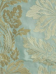 Halo Embroidered Vase Damask Dupioni Silk Fabrics (Color: Magic mint)