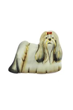 This vintage Lhasa Apso brooch features a large porcelain dog painted white and accented with gold wearing a red bow. Lhasa Apso, Dog Paintings, Cute Animals, Retro, Dogs, Brooches, Vintage, Products, Pretty Animals