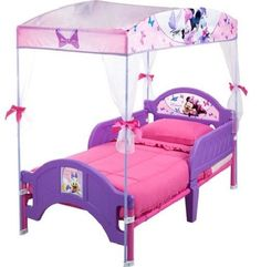 Disney Minnie Mouse Canopy Toddler Bed Girls Kids Bedroom Furniture Bow-Tique