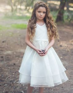 04d9a179e Flower Girl Dress Double Layered Lace and Organza Dress White Party Dress  Special Occasion Dress