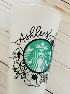 Your place to buy and sell all things handmade Starbucks Cup Gift, Starbucks Cup Design, Copo Starbucks, Personalized Starbucks Cup, Custom Starbucks Cup, Coffee Cup Design, Starbucks Logo, Personalized Tumblers, Starbucks Drinks