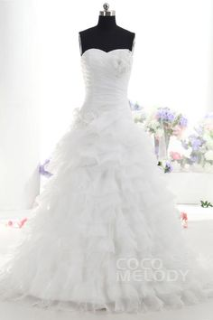 Luxurious A-Line Sweetheart Dropped Train Organza White Sleeveless Lace Up-Corset Wedding Dress with Ruched and Appliques h1mr0110 #weddingdress #cocomelody