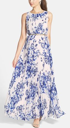 Blue & White Floral Sleeveless Maxi Dress with Asymmetrical Pleats & Thin Gold Belt // porcelain-inspired