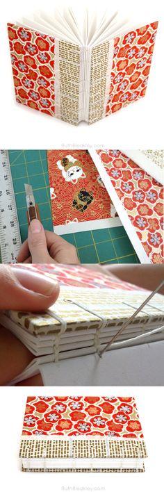 Red Plum Blossom journal handmade by Ruth Bleakley