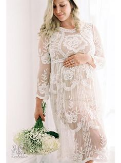 c70b1817152 White Lace Maternity Dress Gown Photo Prop Clothing - CCO10. White Baby  Shower ...