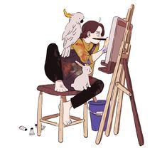 when I'm making a master piece. Cartoon Kunst, Cartoon Art, Pretty Art, Cute Art, Art And Illustration, Arte Obscura, Arte Sketchbook, Poses References, Dibujos Cute