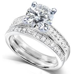 Round Moissanite (2ct DEW) and Diamond Wedding Ring Set in 14k White Gold $1,509.99