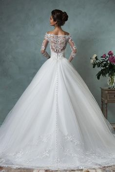Amelia Sposa 2016 Wedding Dresses Princess Style Off-shoulder French Lace Appliques Tulle Skirt See-through Back Long Sleeves Bridal Gowns