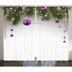 The Holiday Aisle Christmas Decorations Tree Decorations Tinsel and Ball with Gift Wrap Ribbon Picture Graphic Print & Text Semi-Sheer Rod Pocket C...