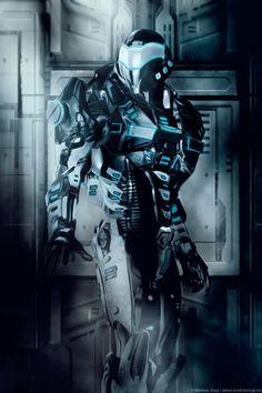 Futuristic Warrior Art   Corridor (art:Markus Vogt), future, futuristic suit, future warrior ...