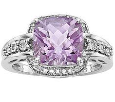 Sterling Checker-cut Gemstone & Diamond Ring