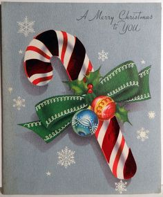 40s Foil Candy Cane Vintage Christmas Card