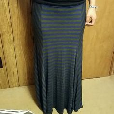 Dark blue and grey maxi skirt Like new. Only worn a few times. Skirts Maxi