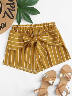 Stagioni Fashion for Women, Shorts for Women. Item: Knot Front Striped Shorts for Women Cute Pants, Cute Shorts, Striped Shorts, Trendy Outfits, Kids Outfits, Summer Outfits, Cute Outfits, Short Niña, Diy Shorts