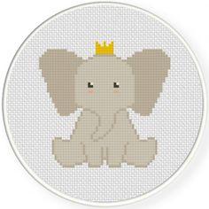 Elephant Prince Cross Stitch Illustraition