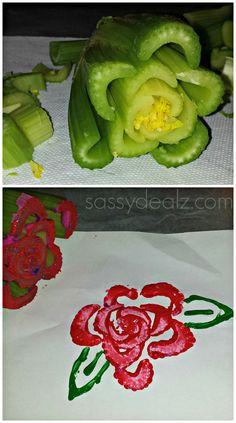 Celery Rose Flower Stamping Craft For Kids #Celery art project #Valentines card idea