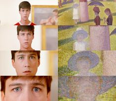 alan ruck as cameron frye looking at 'a sunday afternoon on the island of la grande jatte - 1884' by georges seurat in 'ferris bueller's day off' #hotties