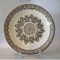 """This beautiful plate is handpainted in a """"Chocolate"""" design! It is oven,microwave and dishwasher safe.  http://www.theclaycorner.com/"""