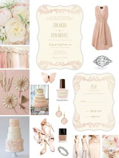 Ballet Pink & Cream Wedding Inspiration Board - Neutral Wedding Theme -- Pink & Cream Wedding Theme -- Vintage -- Blush & Cream Ombre Wedding Invitation & Response Card designed by Lauren DiColli Hooke for KleinfeldPaper.com